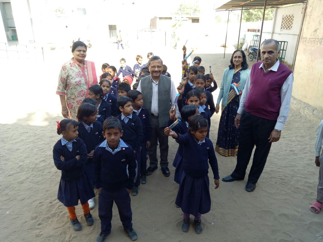 The kids of JAGRITI Govt Upper Primary School, Girdharipura feeling happy with new sweaters.There were one's who kept their last year Sweater absolutely new - they too need an appreciation - we have given them chocolates , as token of appreciation